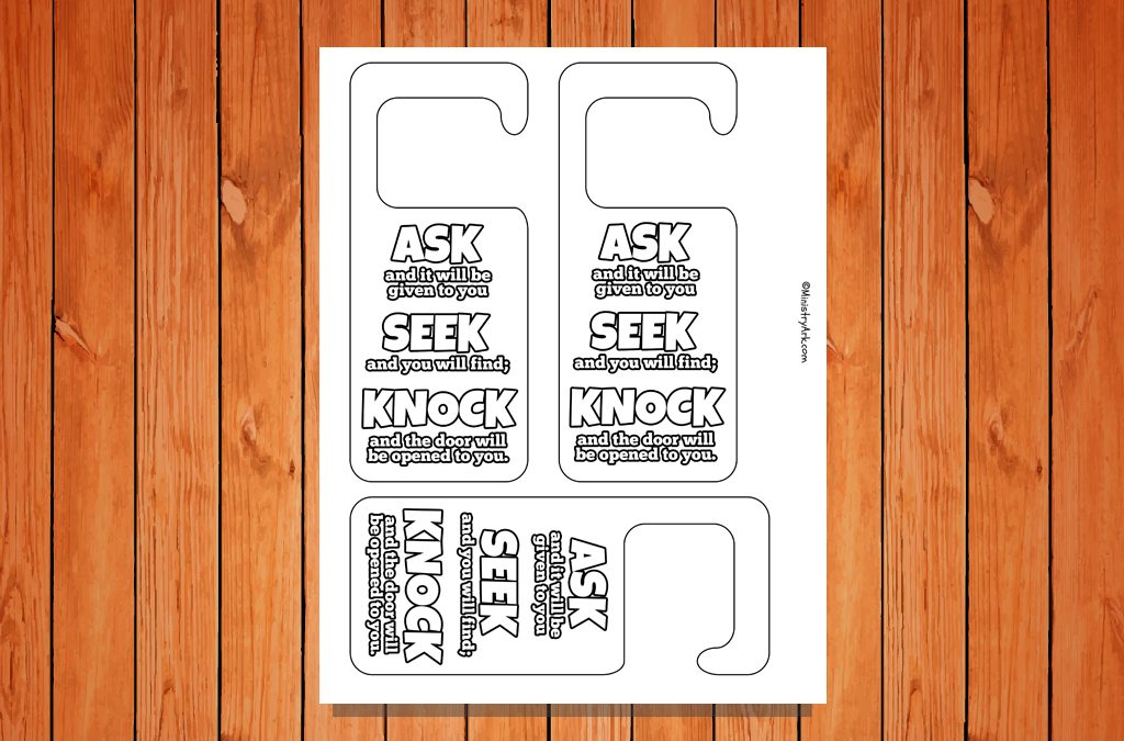 \u0027Ask Seek Knock\u0027 Door Hangers Printable : printable door - pezcame.com