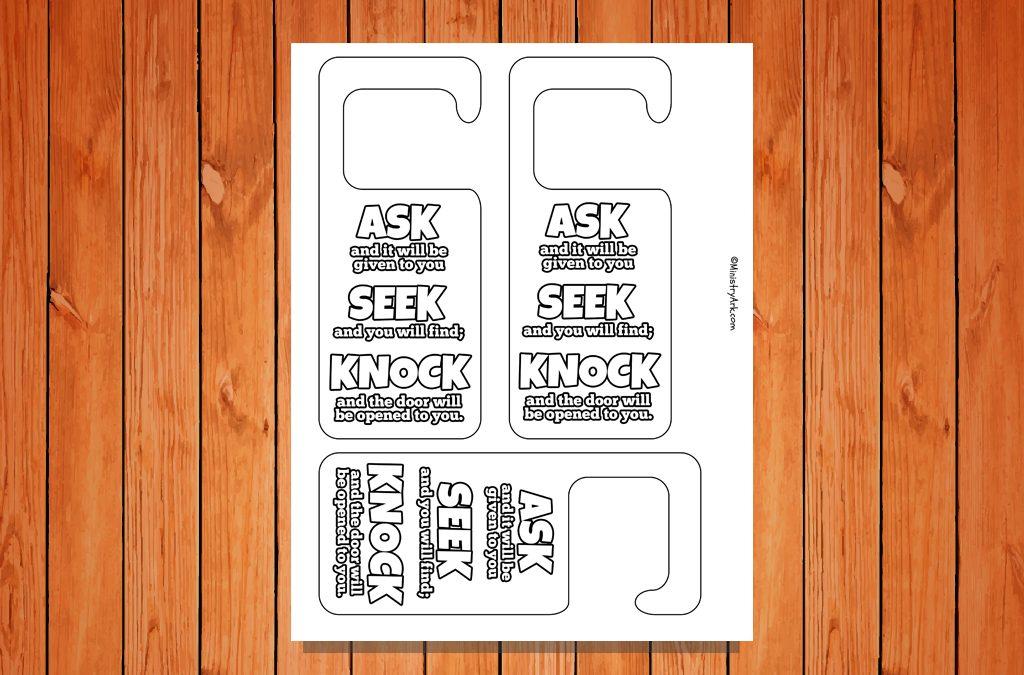 'Ask, Seek, Knock' Door Hangers Printable