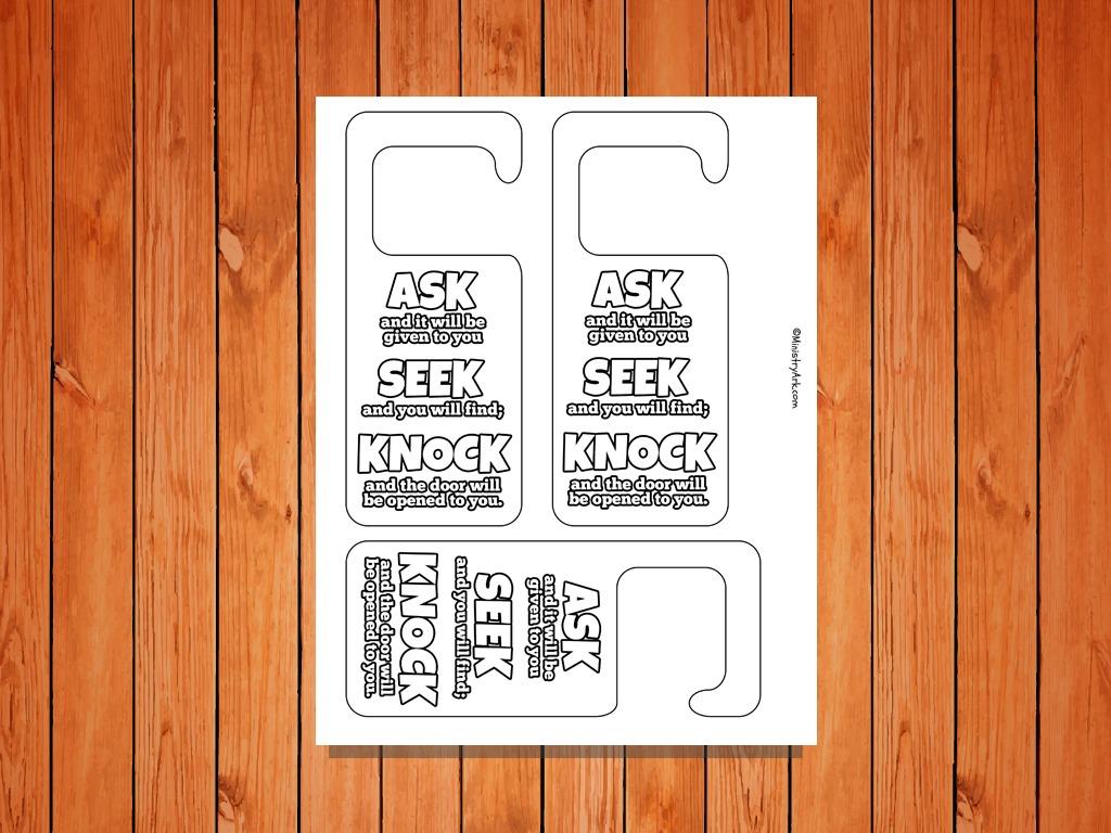 Ask Seek Knock Door Hangers Printable Ministryark