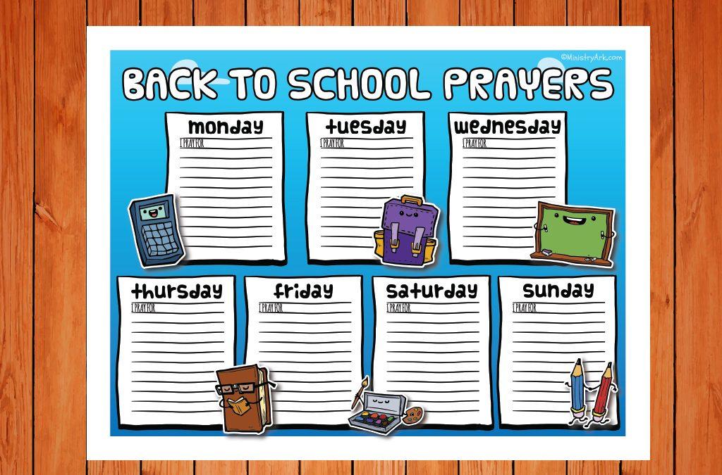 'Back to School Prayers' Color Printable