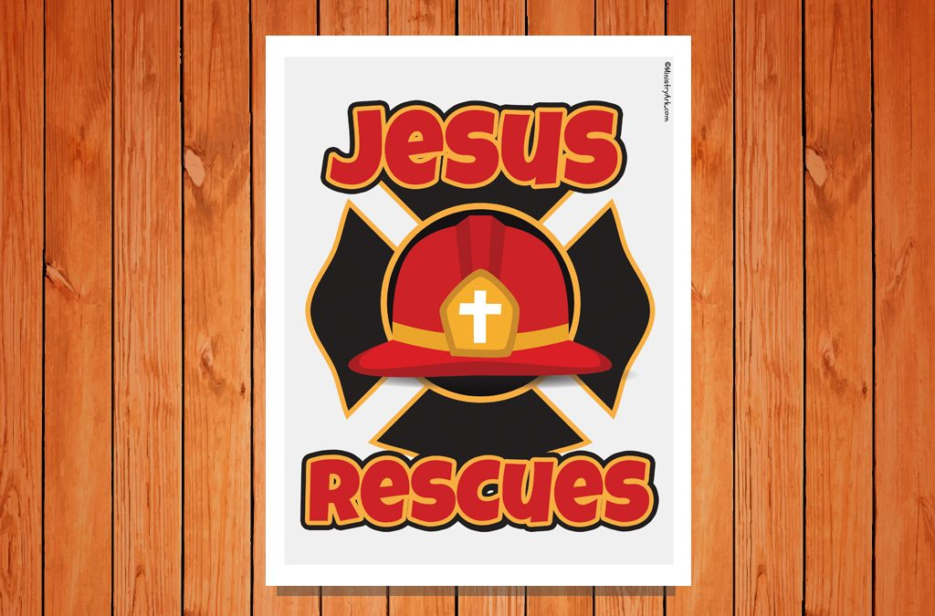 'Jesus Rescues' Color Printable Poster