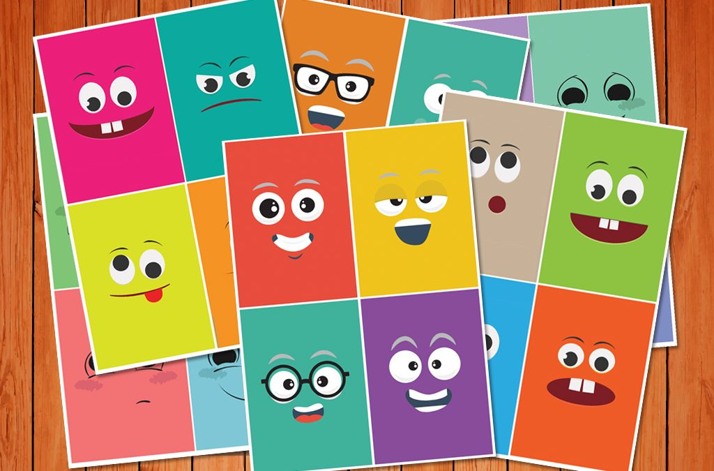 It is a graphic of Printable Emotion Cards intended for flash