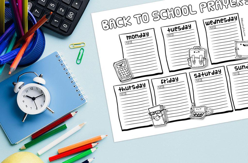 'Back to School Prayers' B & W Printable