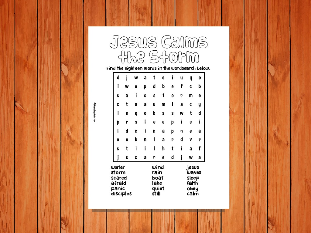 photo about Jesus Calms the Storm Printable identify Jesus Calms the Storm Printable Wordsearch MinistryArk