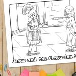 'Jesus and the Centurion Soldier' Printable Coloring Sheet