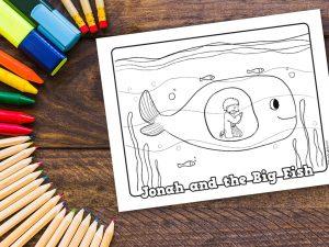 'Jonah and the Big Fish' Printable Coloring Sheet