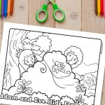 'Adam and Eve Hide' Printable Coloring Sheet