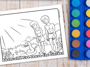 'Adam and Eve Leave the Garden' Printable Coloring Page