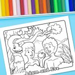 'Adam and Eve' Printable Coloring Sheet
