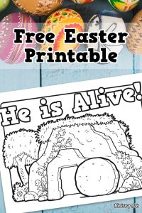 'He is Alive' Printable Coloring Sheet Pinterest image