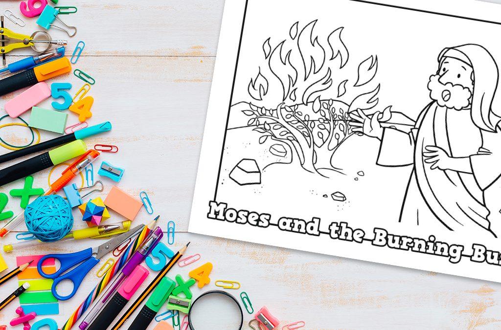 'Moses and the Burning Bush' Printable Coloring Sheet