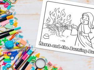 'Moses and Burning Bush' Printable Coloring Sheet