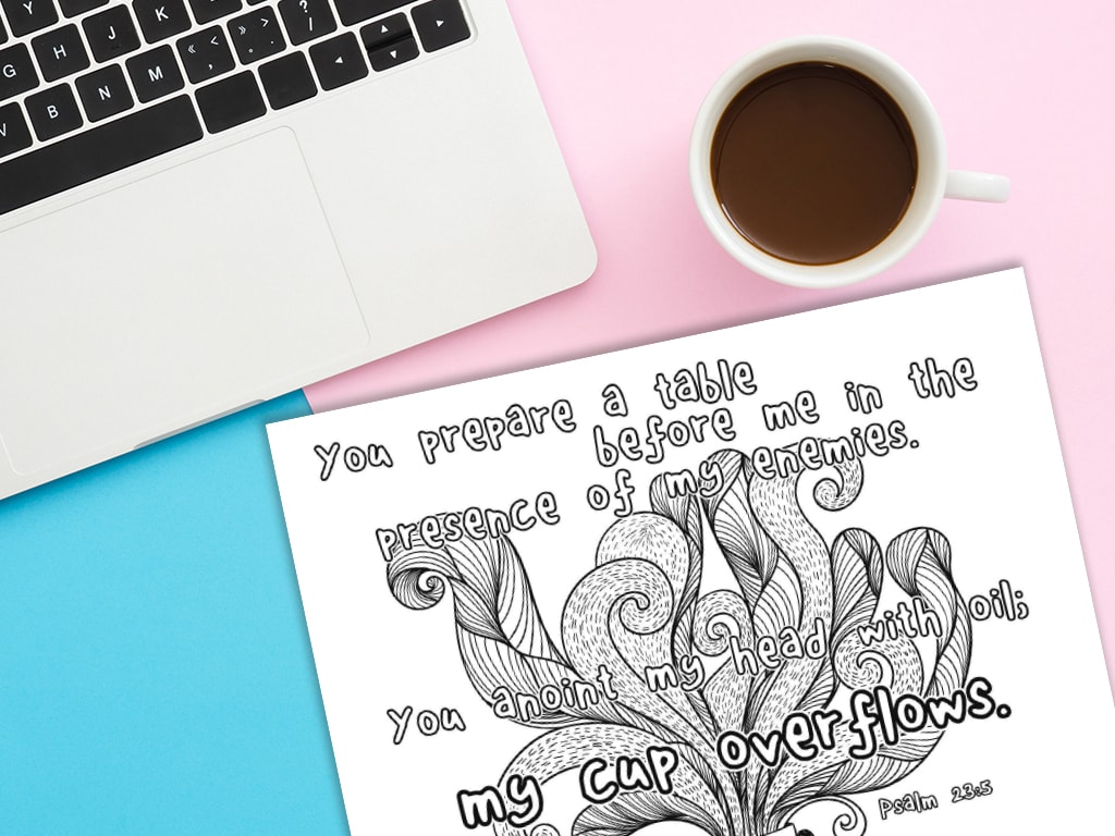 photograph about Psalm 23 Printable named My Cup Overflows Printable MinistryArk