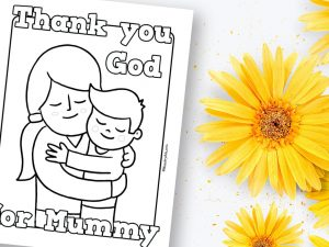'Thank You God for Mummy' Printable Coloring Sheet