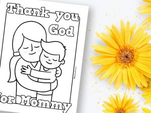 'Thank You God for Mommy' Printable Coloring Sheet