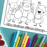 'The Father Gives Money' Coloring Sheet Printable
