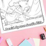'David Spares Saul' Bible Story Printable